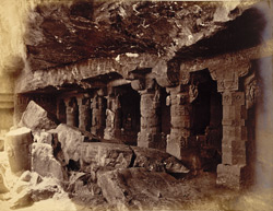 General view of entrance to Buddhist Cave Temple (Cave I), Aurangabad Caves